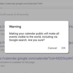 Thousands of Google Calendars Possibly Leaking Private Information Online